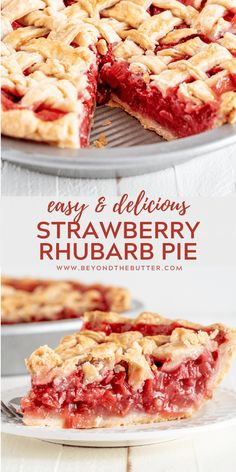 This Strawberry Rhubarb Pie is the perfect combo of strawberries and rhubarb all baked in a homemade buttery, flaky pie crust! Tart Recipes, Best Dessert Recipes, Fun Desserts, Baking Recipes, Sweet Recipes, Delicious Desserts, Recipes Dinner, Cool Recipes, Healthy Pie Recipes