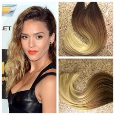 """5 Star Ombre Cuticle Remy Human Hair Keratin Fusion Tape-in Seamless weft 20"""" Hair Extensions 40pcs"""