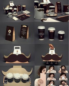 functional and funny coffeee cup carrier. plays off the trend of the mustaches but also has enough room for coffees and creamer and stuff. packaging . product design. branding