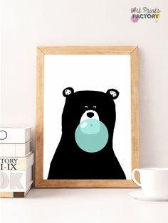 SALE bear mint prints ,bear wall decor, bear download, bear nursery decor, bear instant download,  bear mint art, bear bubble gum, nursery by ArtPrintsFactory on Etsy