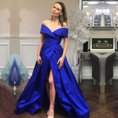 BeryLove Simple Royal Blue Evening Dresses 2018 Long Off Shoulder Evening  Gowns Plus Size Formal Special Occasion Dresses royal blue formal dress    royal ... e2b0a6a9b404