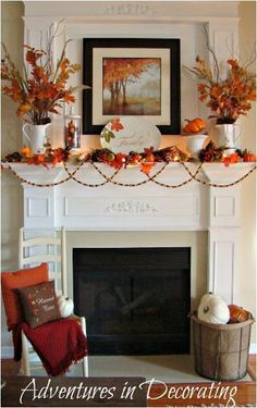 Adventures in Decorating Fall Mantel