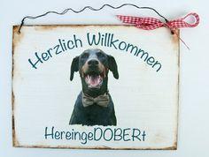 Türschild Hund Dobermann von Un-Art-Tick via dawanda.com