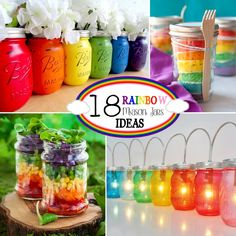 18 Rainbow Mason Jar Ideas - from crafts to recipes to lighting!