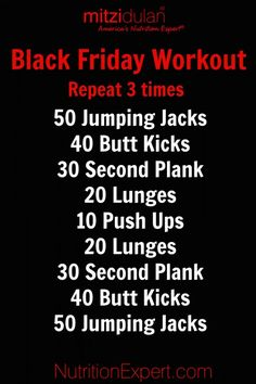 Just in case you eat a little too much on Thanksgiving, here's a workout for you to do this Friday that will help get you back on track!