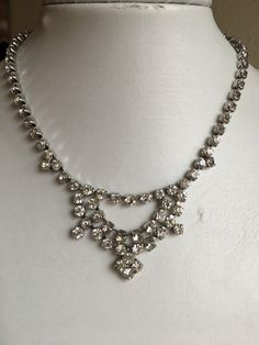 Art Deco Necklace: Vintage Silver Clear Diamanté Bridal Wedding Costume Necklace by sthingoldsthingnew on Etsy https://www.etsy.com/listing/512615947/art-deco-necklace-vintage-silver-clear