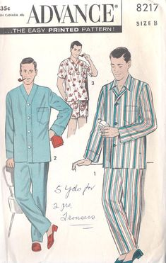 1950s Men S Pajamas Vintage Sewing Pattern Advance 8217 Chest Size 42 To