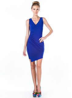 Overlapping Ruched Bodycon Dress