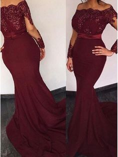 Prom Dress For Teens, Mermaid Off-the-Shoulder Long Sleeves Sweep Train Burgundy Prom Dress with Beading, cheap prom dresses, beautiful dresses for prom. Best prom gowns online to make you the spotlight for special occasions. Mermaid Prom Dresses Lace, Mermaid Evening Gown, Prom Dresses Long With Sleeves, Plus Size Prom Dresses, Lace Evening Dresses, Ball Dresses, Simple Dresses, Lace Dress, Formal Dresses