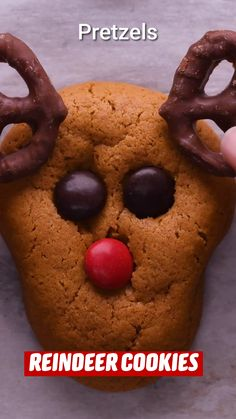 Reindeer Cookies, Holiday Cookies, Holiday Treats, Holiday Recipes, Holiday Baking, Christmas Desserts, Fun Desserts, Delicious Desserts, Christmas Snacks