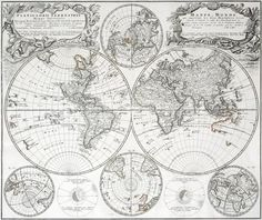 Homann Heirs (German, fl. after 1730). Planiglobii Terrestris / Mappe Monde (World Map). Engraving on laid paper, plate 1746. Cartouche inscriptions in both Latin and French. For Kleiner Atlas Scholasticus von Achtzehen Charten, published by the Homann Heirs, Nuremberg. 19-1/2 x 22-5/8 inches.