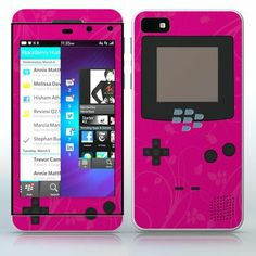 Shocking Pink Video Game Designer Device Flowered video game device pattern phone skin sticker for Cell Phones / Blackberry Z10 | $7.95