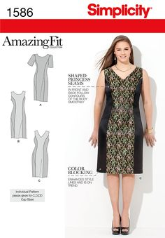 We've done the fitting for you – with customized pattern pieces designed to fit your shape! Misses' & Plus size Amazing Fit dress with sleeve and neckline variations. Separate pattern pieces for slim, average & curvy figure types.