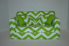 18 Inch  Doll  Couch - Chevron - Chartreuse Green - White - Modern Handmade Doll Furniture American Girl -- no pattern