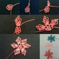 Needle Tatting, Tatting Lace, Needle Lace, Beaded Embroidery, Embroidery Stitches, Hand Embroidery, Crochet Unique, Hairpin Lace, Point Lace