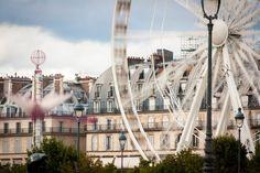 Romantic ferris wheel, streets of Paris, fine art photography, wall art, interior design, France landscape, home decor, urban architecture
