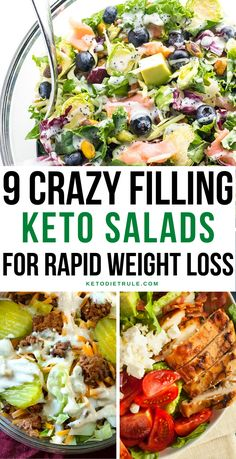 9 Crazy Filling Keto Salad for Rapid Weight Loss Can you eat salad on a keto diet? Absolutely, it just needs to be low carbs. But don't worry I compiled a list of healthy and delicious keto Ketogenic Recipes, Diet Recipes, Healthy Recipes, Dessert Recipes, Chili Recipes, Diet Dinner Recipes, Zoodle Recipes, Dinner Salads, Shrimp Recipes