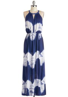 Ink Positively Dress in Navy. Smiles abound when you wear this navy tie-dyed maxi dress! #blue #modcloth