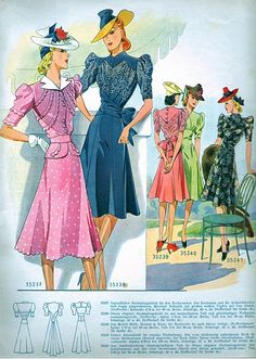 Judith Fellows 1940's vintage fashion dresses, 1941