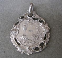 Lovely Sterling Silver Antique French Religious Communion Chalice Medal Pendant