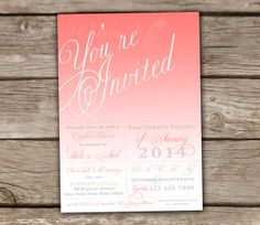 Coral Bridal Shower Invitations - DIY, Printable, Couples Shower, Baby Shower, Engagement Party, Wedding, Ombre