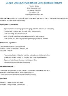 sample ultrasound applications demo specialist resume