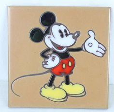 "MICKEY MOUSE Ceramic Tile Trivet 6"" Masterworks Art Tiles USA Walt Disney  #Masterworks"