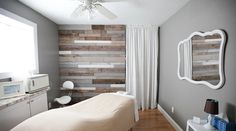Massage Room Mon Petit Chou Spa and Salon Love the grey walls and rustic wood Massage Room Design, Massage Room Decor, Massage Therapy Rooms, Spa Room Decor, Massage Room Colors, Facial Room, Spa Facial, Facial Massage, Massage Clinic