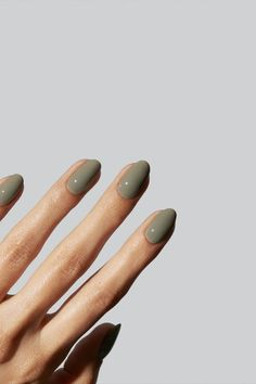 Smudge away that negative energy with a spiritual self-care ritual. A greyish, earthly green that reminds us of dried sage leaves. Positive vibes only. Iconic to Gelcare. Gelcare nail polish is made in Canada and free of 10 of the most harmful chemicals used in the polish industry. Green Nail Polish, Uv Gel Nail Polish, Shellac Nails, Green Nails, Manicure, Bridal Nails Designs, Fall Nail Designs, Fall Acrylic Nails, Minimalist Nails