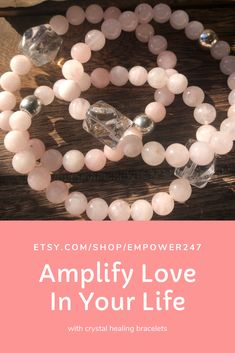 Pink Rose Quartz with large Clear Quartz Nugget bead will amplify LOVE in your life!