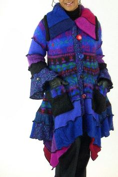 Blue and Purple Mohair Sweater Coat, Size Medium-Large (12-14)
