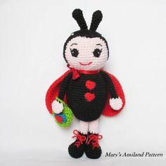 Lily Ladybug The Ami - Amigurumi Pattern by MarysAmiland #amigurumipattern #ladybug #ladybird #amigurumi #crochet #cute #marysamiland