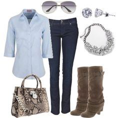 Love the shirt & purse! Minus the boots for this ol' broad...Add some ballet flats for me.