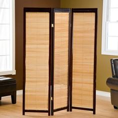 Tranquility Wooden Shutter Screen Room Divider in Espresso and Natural $99