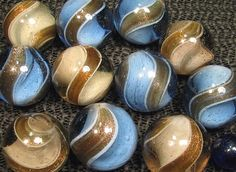 German Ribbon Lutz - Banded Lutz Marbles that have gold metallic bands
