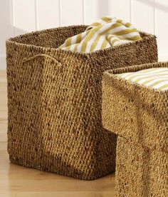 "Woven Laundry Basket - $ 76; Features:  Made of water hyacinth reeds, Hand woven, Natural finish, Transforms into more golden brown,   Size: 16"" wide x 16"" deep x 19"" tall."
