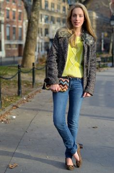 We love this cold weather look with (a pop of neon) from blogger Katie of Katie's Bliss.
