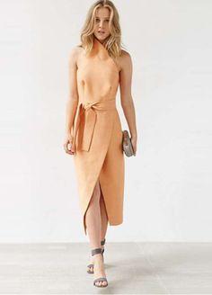 Black Wrap Cut Away Tie Waist Slit Front Dress Out Of StockSPU:15151G551