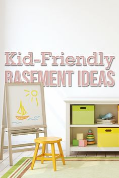 Easily hide the toy mess from your living room by transforming your finished basement into a playroom. Shag Carpet, Home Renovation, Playroom, Basement, Home Improvement, Toy, Indoor, Living Room, Diy Ideas
