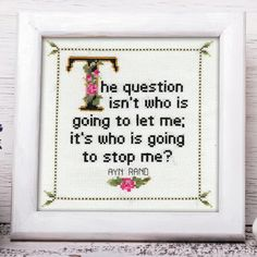 Ayn Rand Quote Easy Cross Stitch Pattern: by WhatSheSaidStitches