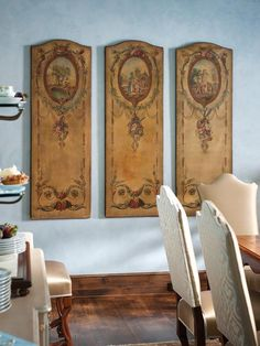 Blue Dining Room with French Oils on Cavas Artwork - on HGTV