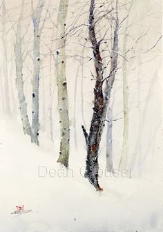 WINTER TREES in Snow Watercolor Print by Dean by DeanCrouserArt