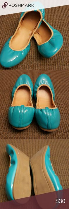 J. Crew Factory Patent Leather Ballet Flats These are just what you need for a pop of color for any cute outfit.  Stylish and comfy all at the same time.  No signs of wear. J. Crew Factory Shoes Flats & Loafers