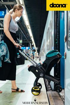 Doona's Infant Car Seat & Stroller + Base is easy for on the go, from car seat, to plane rides to strolling in the streets of NYC... no more confusing travel system pieces - It's all in one with the Doona Infant Car Seat! Plane Ride, Travel System, Baby Gear, All In One, Baby Car Seats, Infant, Nyc, Base, Baby