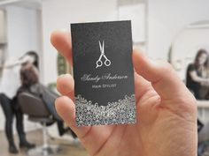 Salon business cards card templates business cards and salons elegant dark silver damask hair stylist business card template created by cardhunter accmission Images