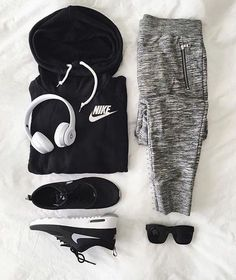 Pants: nike, sports pants, grey pants, grey sweatpants, nike sweater, black hoodie, sportswear, nike sneakers - Wheretoget