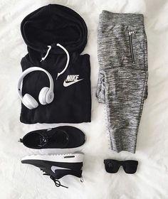 Pants: nike, sports pants, grey pants, grey sweatpants, nike sweater, black hoodie, sportswear, nike sneakers - Wheretoget