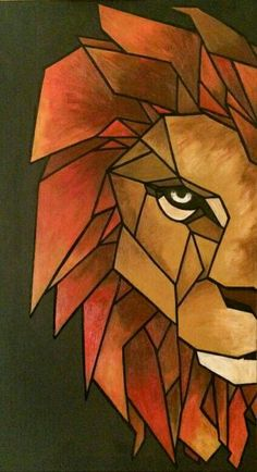 Cool Art Drawings, Pencil Art Drawings, Art Drawings Sketches, Geometric Lion, Geometric Drawing, Lion Painting, Painting & Drawing, Cubism Art, Mini Canvas Art