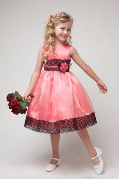 Coral Satin Bodice and Organza Skirt with Black Lace Mid-riff Flower Girl Dress in size in 3 Colors - Formal/Party Girl Dresses - GIRLS Special Dresses, Special Occasion Dresses, Gowns For Girls, Girls Dresses, Lace Flower Girls, Flower Girl Dresses, Pastel Color Dress, Cute Little Girl Dresses, Modelos Fashion