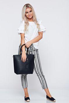 Comanda online, Geanta dama office neagra cu manere scurte. Articole masurate, calitate garantata! Summer Time, Chic, Pants, Collection, Style, Fashion, Shabby Chic, Trouser Pants, Swag